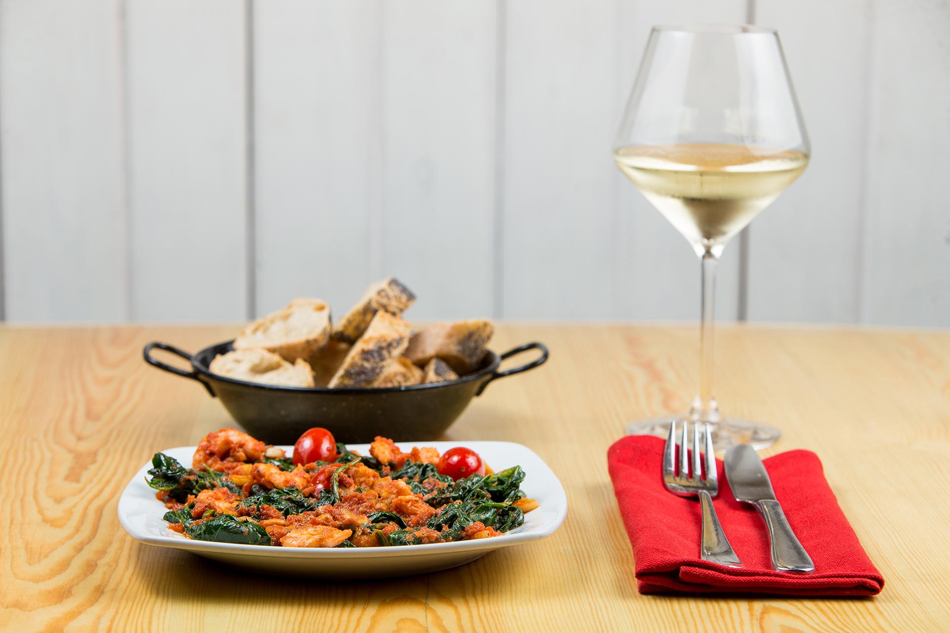 espinacas con vino